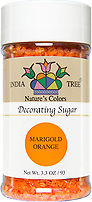 India Tree Nature's Colors natural Marigold Orange Decorating Sugar, India Tree Decorating Sugar, natural sprinkles made with natural food color from plant-based ingredients