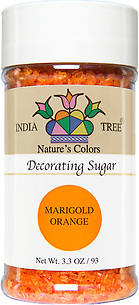 10259 Nature's Colors Marigold Orange Decorating Sugar, Small Jar 3.3 oz, India Tree Storefront