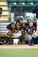 Bradenton Marauders catcher Jason Delay (5) awaits the pitch during a game against the Charlotte Stone Crabs on June 3, 2018 at LECOM Park in Bradenton, Florida.  Charlotte defeated Bradenton 10-1.  (Mike Janes/Four Seam Images)