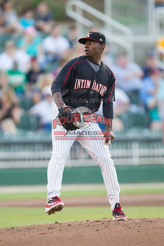 Kannapolis Intimidators starting pitcher Andre Wheeler (31) in action against the Hagerstown Suns at CMC-Northeast Stadium on May 31, 2014 in Kannapolis, North Carolina.  The Intimidators defeated the Suns 4-3 in game two of a double-header.  (Brian Westerholt/Four Seam Images)