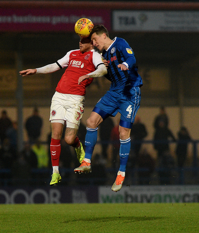 Rochdale's Jim McNulty battles with  Fleetwood Town's Wes Burns<br /> <br /> Photographer Hannah Fountain/CameraSport<br /> <br /> The EFL Sky Bet League One - Rochdale v Fleetwood Town - Saturday 19 January 2019 - Spotland Stadium - Rochdale<br /> <br /> World Copyright © 2019 CameraSport. All rights reserved. 43 Linden Ave. Countesthorpe. Leicester. England. LE8 5PG - Tel: +44 (0) 116 277 4147 - admin@camerasport.com - www.camerasport.com