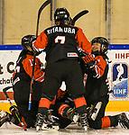 09.01.2020, BLZ Arena, Füssen / Fuessen, GER, IIHF Ice Hockey U18 Women's World Championship DIV I Group A, <br /> Japan (JPN) vs Deutschland (GER), <br /> im Bild Torjubel nach 1:1, Kaho Suzuki (JPN, #13), Sakura Kitamura (JPN, #7), Shiori Yamashita (JPN, #2)<br /> <br /> Foto © nordphoto / Hafner
