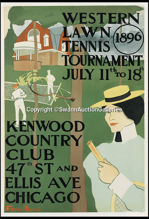 BNPS.co.uk (01202 558833)<br /> Pic: SwannAuctionGalleries/BNPS<br /> <br /> ***Please Use Full Byline***<br /> <br /> Western Lawn Tennis Tournament (1896), by Edward Penfield, estimated at $700 - $1,000. <br /> <br /> <br /> The world's largest collection of vintage tennis posters spanning a century of the sport has emerged for sale for a staggering 100,000 pounds.<br /> <br /> The posters date from the late 19th century and advertise everything from famous tennis tournaments to luxury holiday destinations and even cars.<br /> <br /> The earliest poster in the collection comes from 1896 and advertises the Western Lawn Tennis Tournament at the Kenwood Country Club in Chicago.<br /> <br /> The collection was compiled by an Australian poster enthusiast over several decades and is thought to be the largest ever to come to auction.<br /> <br /> The posters will be sold individually for prices ranging between 150 pounds to 12,000 pounds and are collectively tipped to fetch a whopping 100,000 pounds in the Swann Auction Galleries sale.