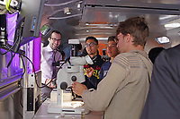 New York, NY, USA - October 12, 2017: BioBus II on its first outing, brings a science program to high school students at Wheels School on 182nd Street in Manhattan. Washington Heights Expeditionary Learning School is a junior and senior high school in Washington Heights. Staff presenting this morning's program: Ben Dubin-Thaler, PhD, Founder and Executive Director; Sarah Weisberg, MSci, Chief Scientist; and Latasha Wright, PhD, Chief Scientist.