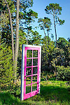 Free standing pink door in nature. Central Coast of California