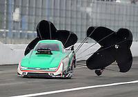 Feb 10, 2017; Pomona, CA, USA; NHRA top alcohol funny car driver Ulf Leanders during qualifying for the Winternationals at Auto Club Raceway at Pomona. Mandatory Credit: Mark J. Rebilas-USA TODAY Sports