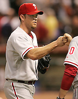 Philadelphia Phillies pitcher Brad Lidge celebrates a win against his former team on Thursday May 22nd at Minute Maid Park in Houston, Texas. Photo by Andrew Woolley / Four Seam Images.