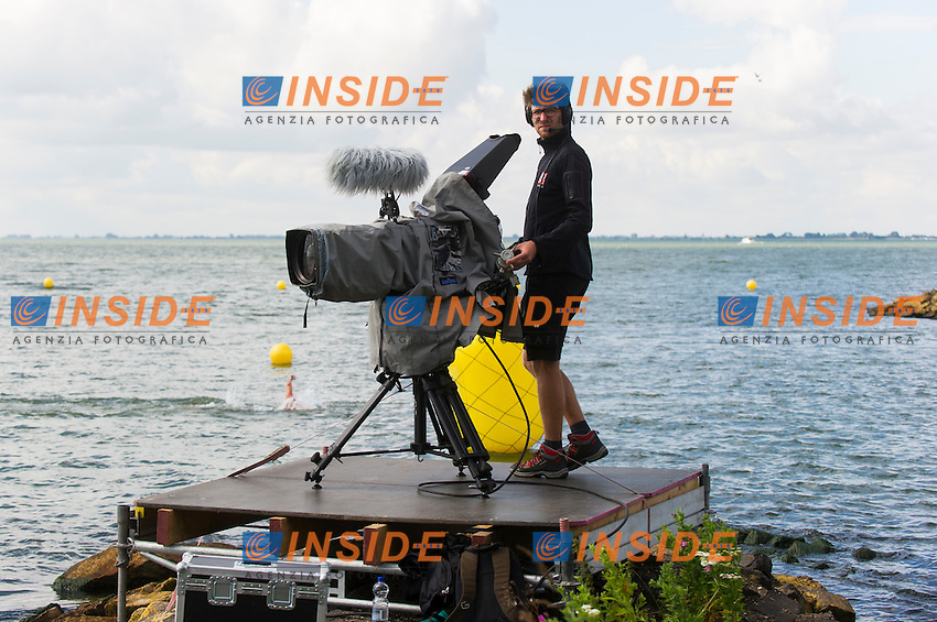 TV camera<br /> Hoorn, Netherlands <br /> LEN 2016 European Open Water Swimming Championships <br /> Open Water Swimming<br /> Women's 5km<br /> Day 02 12-07-2016<br /> Photo Giorgio Perottino/Deepbluemedia/Insidefoto