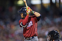 J.P. Crawford (3) of the Lehigh Valley Iron Pigs at bat against the Charlotte Knights at BB&T BallPark on June 3, 2016 in Charlotte, North Carolina.  The Iron Pigs defeated the Knights 6-4.  (Brian Westerholt/Four Seam Images)