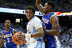 22 December 2012: North Carolina's James Michael McAdoo (left) and McNeese State's Caig McFerrin (right). The University of North Carolina Tar Heels played the McNeese State University Cowboys at the Dean E. Smith Center in Chapel Hill, North Carolina in an NCAA Division I Men's college basketball game. UNC won the game 97-63.