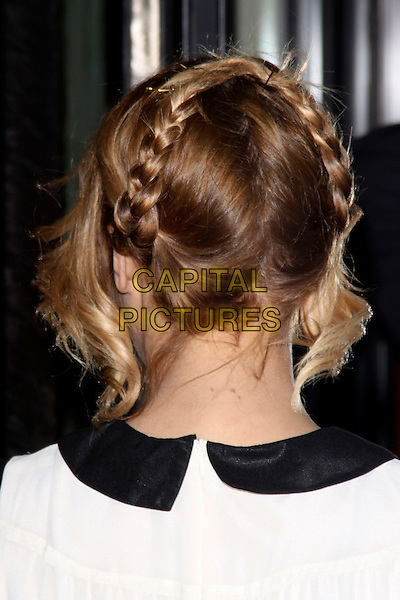 CAROLINE FLACK.Attending the TRIC (Television and Radio Industries Club) Awards at Grosvenor House, London, England, UK, March 8th 2011..outside  arrivals headshot portrait black white collar hair up braids plaits back rear behind .CAP/AH.©Adam Houghton/Capital Pictures.