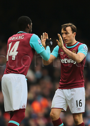 27.02.2016. Boleyn Ground, London, England. Barclays Premier League. West Ham versus Sunderland. West Ham United Captain Mark Noble is substituted for West Ham United Midfielder Pedro Obiang