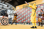 Chris Froome dressed as a ninja warrior on stage before the Tour de France Saitama Crit&eacute;rium 2017 held around the streets os Saitama, Japan. 3rd November 2017.<br /> Picture: ASO/Pauline Ballet | Cyclefile<br /> <br /> <br /> All photos usage must carry mandatory copyright credit (&copy; Cyclefile | ASO/Pauline Ballet)
