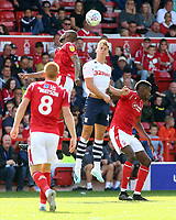 Preston North End's Brad Potts rises highest<br /> <br /> Photographer David Shipman/CameraSport<br /> <br /> The EFL Sky Bet Championship - Nottingham Forest v Preston North End - Saturday 31st August 2019 - The City Ground - Nottingham<br /> <br /> World Copyright © 2019 CameraSport. All rights reserved. 43 Linden Ave. Countesthorpe. Leicester. England. LE8 5PG - Tel: +44 (0) 116 277 4147 - admin@camerasport.com - www.camerasport.com