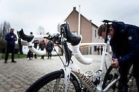 Bike Tom Boonen (BEL/Quick-Step Floors) after 1st crash<br /> <br /> 72nd Omloop Het Nieuwsblad 2017