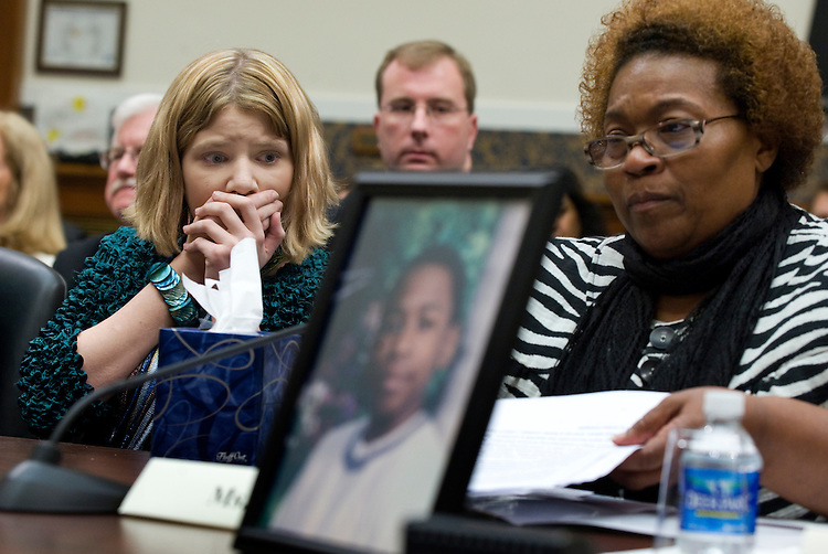 "During a House Education and Labor Committee hearing Paige Gaydos, 15, listens to testimony from Toni Price whose foster son Cedric was killed while being sat on by a teacher with the intent to restrain him, May 19, 2009.  Paige was also abused in school as a form of discipline.  The hearing was entitled ""Examining the Abusive and Deadly Use of Seclusion and Restraint in Schools."""