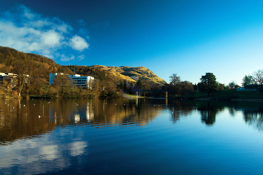 Dumyat, from Airthrey Loch, the University of Stirling, Stirling, Stirlingshire