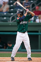 Josh Reddick (3) of the Greenville Drive at bat versus the Kannapolis Intimidators at Fluor Field in Greenville, SC, Sunday, April 6, 2008.