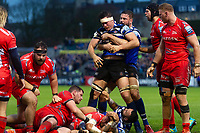 Francois Louw of Bath Rugby is congratulated on securing a turnover. Gallagher Premiership match, between Bath Rugby and Sale Sharks on December 2, 2018 at the Recreation Ground in Bath, England. Photo by: Patrick Khachfe / Onside Images