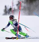 FRANCONIA, NH - MARCH 10: A member of the Colby College women's ski team participates in the women's slalom at the Division I Men's and Women's NCAA Skiing Championships held at Jackson Ski Touring on March 10, 2017 in Jackson, New Hampshire. (Photo by Gil Talbot/NCAA Photos via Getty Images)