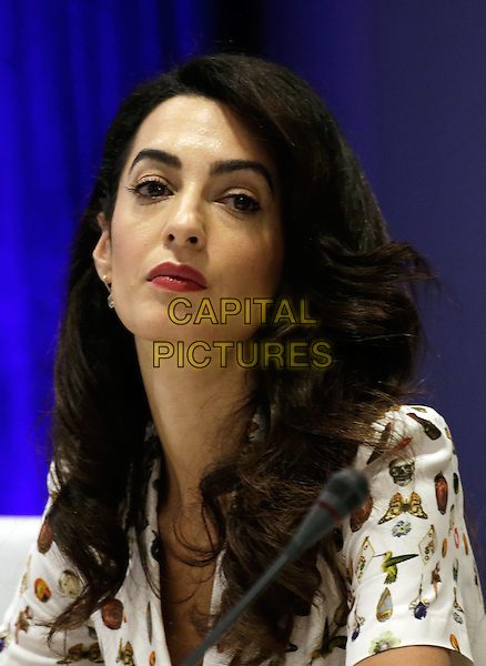 Lebanese-British lawyer, Amal Clooney attends a Private Sector Call to Action Leaders Summit for Refugees during the United Nations 71st session of the General Debate at the United Nations General Assembly at United Nations headquarters in New York, New York, USA, 20 September 2016.<br /> <br /> CAP/MPI/RS<br /> &copy;RS/MPI/Capital Pictures