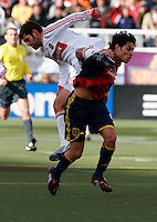 Gonzalo Segares (25) of the Chicago Fire and Fabian Espindola (9) of Real Salt Lake. The Chicago Fire and Real Salt Lake played to a 1-1 tie during a Major League Soccer match at Rice-Eccles Stadium in Salt Lake City, Utah on March 29, 2008.