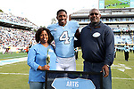 CHAPEL HILL, NC - NOVEMBER 18: UNC's Allen Artis was honored as part of Senior Day pregame activities. The University of North Carolina Tar Heels hosted the Western Carolina University Catamounts on November 18, 2017 at Kenan Memorial Stadium in Chapel Hill, NC in a Division I College Football game. UNC won the game 65-10.
