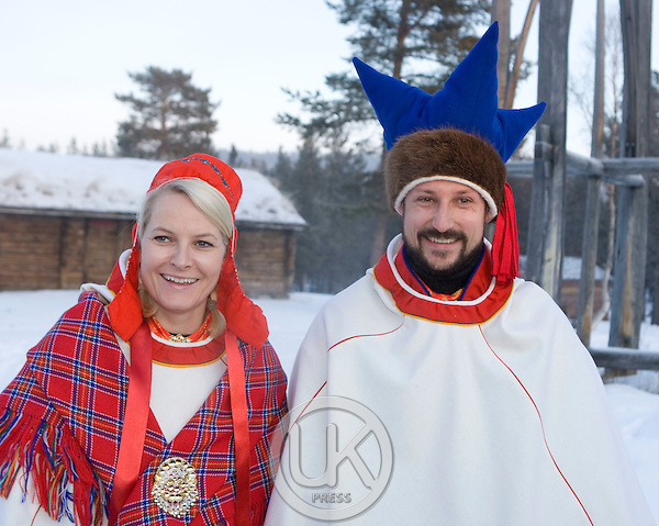 Crown Prince Haakon & Crown Princess Mette Marit of Norway on a two day visit to Finnmark in Norway, attend a meeting with the Press, in Karasjok, Finnmark, Northern Norway