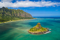 Aerial view of Chinaman's Hat (or Mokoli'i Island) and Kualoa Regional Park at Kane'ohe Bay, Windward O'ahu.