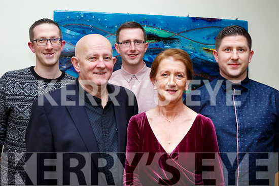 L-R Eileen Walsh with her family, Sean, Sean Óg, Padraig and Gearóid at her retirement party in the Ballyroe heights hotel, Tralee after a life time service with University hospital Kerry last Saturday night.