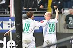 06.10.2019, Commerzbankarena, Frankfurt, GER, 1. FBL, Eintracht Frankfurt vs. SV Werder Bremen, <br /> <br /> DFL REGULATIONS PROHIBIT ANY USE OF PHOTOGRAPHS AS IMAGE SEQUENCES AND/OR QUASI-VIDEO.<br /> <br /> im Bild: Davy Klaassen (SV Werder Bremen #30) jubelt ueber sein Tor zum 0:1, mit dabei Josh Sargent (SV Werder Bremen #19)<br /> <br /> Foto © nordphoto / Fabisch