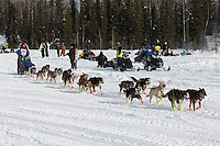 Michelle Phillips at the restart of the Iditarod sled dog race in Willow, Alaska Sunday, March 3, 2013.