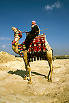 Egypt, Cairo: Camel driver at pyramids. Photo: egypts002.Photo copyright Lee Foster, 510/549-2202, lee@fostertravel.com, www.fostertravel.com