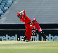 2nd November 2019; Western Australia Cricket Association Ground, Perth, Western Australia, Australia; Womens Big Bash League Cricket, Melbourne Renegades versus Sydney Sixers; Courtney Webb of the Melbourne Renegades plays a straight drive - Editorial Use