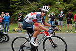 Richie Porte (AUS) Trek-Segafredo rounds the final bend before the finish of Stage 3 of the Route d'Occitanie 2020, running 163.5km from Saint-Gaudens to Col de Beyrède, France. 3rd August 2020. <br /> Picture: Colin Flockton | Cyclefile<br /> <br /> All photos usage must carry mandatory copyright credit (© Cyclefile | Colin Flockton)
