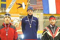SCHAATSEN: HEERENVEEN: IJsstadion Thialf, 03-2003, VikingRace, Artur Was (POL), Guido Berends (NED), Nico Ihle (GER), ©foto Martin de Jong