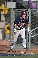 University of Virginia Cavaliers infielder Mike Papi #38 at bat during a game against the University of Kentucky Wildcats at Brooks Field on the campus of the University of North Carolina at Wilmington on February 14, 2014 in Wilmington, North Carolina. Kentucky defeated Virginia by the score of 8-3. (Robert Gurganus/Four Seam Images)
