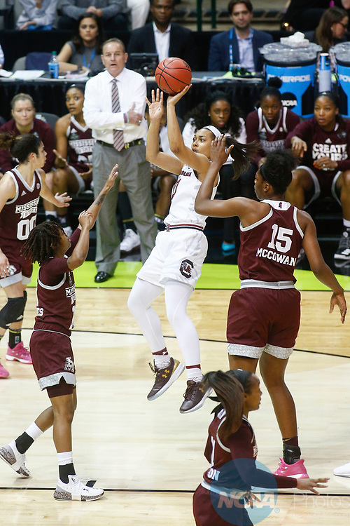 DALLAS, TX - APRIL 2: Allisha Gray #10 of the South Carolina Gamecocks attempts a jump shot during the 2017 Women's Final Four at American Airlines Center on April 2, 2017 in Dallas, Texas. (Photo by Timothy Nwachukwu/NCAA Photos via Getty Images)