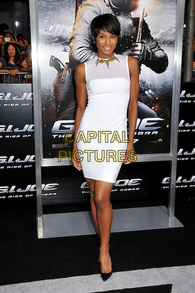 "CIARA (Ciara Princess Harris).""G.I. Joe: The Rise Of Cobra"" Los Angeles Special Screening held at Grauman's Chinese Theatre, Hollywood, CA, USA, 6th August 2009..full length white dress sleeveless black shoes heels christian louboutin pointy stilletos body con .CAP/ADM/BP.©Byron Purvis/Admedia/Capital Pictures"