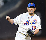 Daisuke Matsuzaka (Mets),<br /> APRIL 26, 2014 - MLB :<br /> Pitcher Daisuke Matsuzaka of the New York Mets reacts during the Major League Baseball game against the Miami Marlins at Citi Field in Flushing, New York, United States. (Photo by AFLO)