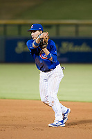 AZL Cubs second baseman Carlos Sepulveda (16) makes a throw to first base against the AZL Giants on September 6, 2017 at Sloan Park in Mesa, Arizona. AZL Giants defeated the AZL Cubs 6-5 to even up the Arizona League Championship Series at one game a piece. (Zachary Lucy/Four Seam Images)
