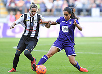 20190807 - ANDERLECHT, BELGIUM : Anderlecht's Diki Sakina Ouzraoui (r) pictured in a fight for the ball with PAOK's Eleni Kakampouki (left) during the female soccer game between the Belgian RSCA Ladies – Royal Sporting Club Anderlecht Dames  and the Greek FC PAOK Thessaloniki ladies , the first game for both teams in the Uefa Womens Champions League Qualifying round in group 8 , Wednesday 7 th August 2019 at the Lotto Park Stadium in Anderlecht  , Belgium  .  PHOTO SPORTPIX.BE | DAVID CATRY