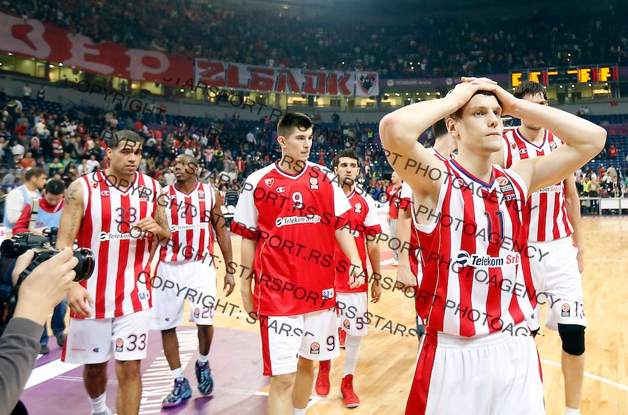 Kosarka Euroleague season 2013-2014<br /> Euroleague<br /> Crvena zvezda v Lokomotiva Kuban<br /> Jaka Blazic (R) reacts Luka Mitrovic (C) Blake Schilb (L)<br /> Beograd, 17,10.2013.<br /> foto: Srdjan Stevanovic/Starsportphoto &copy;