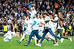 Real Madrid Kiko Casilla, Marcelo, Karim Benzema, Sergio Ramos, Dani Ceballos, Theo Hernandez and Nacho Fernandez during Semi Finals UEFA Champions League match between Real Madrid and Bayern Munich at Santiago Bernabeu Stadium in Madrid, Spain. May 01, 2018. (ALTERPHOTOS/Borja B.Hojas)