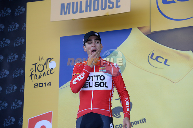 Tony Gallopin (FRA) Lotto-Belisol takes over the Yellow Jersey after Stage 9 of the 2014 Tour de France running 170km from Gerardmer to Mulhouse. 13th July 2014.<br /> Picture: ASO/G.Demouveaux/www.newsfile.ie