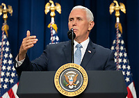United States Vice President Mike Pence introduces President Donald J. Trump to sign S. 204, the &ldquo;Right to Try Act&rdquo; at the White House in Washington, DC, May 30, 2018.<br /> CAP/MPI/RS<br /> &copy;RS/MPI/Capital Pictures