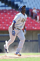 Chris Jacobs #44 of the Rancho Cucamonga Quakes bats against the High Desert Mavericks at Stater Bros. Stadium on May 27, 2014 in Adelanto, California. High Desert defeated Rancho Cucamonga, 5-4. (Larry Goren/Four Seam Images)