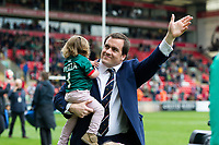 Marcos Ayerza of Leicester Tigers waves to the crowd on the occasion of his final home appearance for the club. Aviva Premiership match, between Leicester Tigers and Sale Sharks on April 29, 2017 at Welford Road in Leicester, England. Photo by: Patrick Khachfe / JMP
