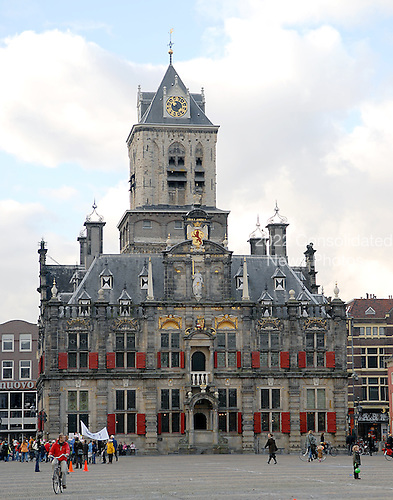 Delft, Netherlands - November 5, 2007 -- The Stadhuis (Town Hall) in Delft, Netherlands on Monday, November 5, 2007.  Hendrick de Keyser rebuilt the town hall after a fire in 1618 leaving only the tower.  de Keyser reused the tower and some remaining walls finishing construction in 1620 leaving the building with its current appearance. It was renovated in the 19th century..Credit: Ron Sachs / CNP