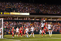 Portland Thorns defender Tina Ellertson (24) goes up for a header with Western New York Flash forward Samantha Kerr (4). Portland Thorns defender Tina Ellertson (24) and Western New York Flash forward Samantha Kerr (4) The Portland Thorns defeated the Western New York Flash 2-0 during the National Women's Soccer League (NWSL) finals at Sahlen's Stadium in Rochester, NY, on August 31, 2013.
